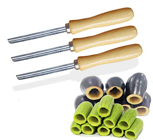 Zucchini Squash Vegetable Corer 3 pcs Corers Stainless Steel Core Remover Tool Kitchen Stuffed Vegetables Veggies Seed Remover Remove Seeds Eggplant Cucumber 8
