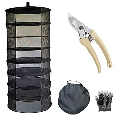 JOURMON Herb Drying Rack Net Dryer 8 Layer 60cm Diameter Black Mesh with Opendoor Dryer Hydroponics, Pruning Shear,Garden Gloves