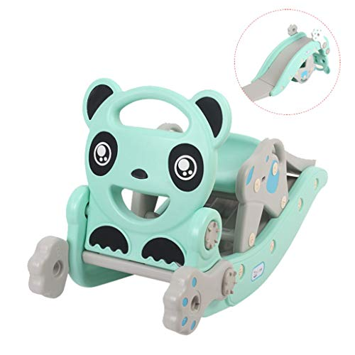 ?UK Spot?Kids Toys Playset ,4-in-1 Children Climbing and Rocking Horse Suit for Indoor and Backyard ,Toddlers Rocker, Cute Panda Rocking Toy, Toddler Rocking Chair for 2-8 years old (Green)