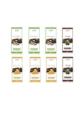 Cioccolato di Modica senza aggiunta di zuccheri con Stevia | 8x60 gr. | Gusti: 2xFondente-Caffè, 3xFondente-Arancio, 3xFondente-Pistacchio