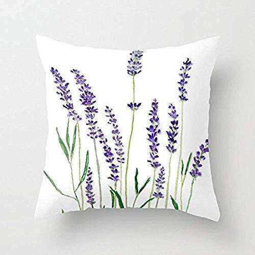 Pillowcase Lavanda Cuadrada Flor De Acuarela Color Azul Decorativo Inicio Sofá Funda De Almohada con Cremallera Funda De Almohada para Automóvil Funda De Cojín Impresa En Ambos Lados Funda De Al