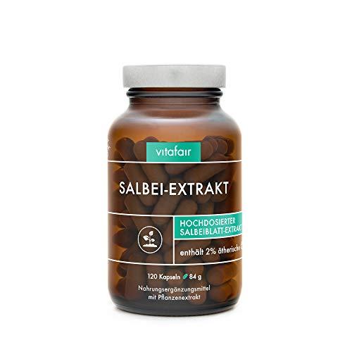 VITAFAIR Salbei Kapseln (10:1 Salbei Extrakt), German Quality - 120 x Salbei-Extrakt (Salvia Officinalis) Kapseln hochdosiert (1740 mg Tagesdosis), 100% vegan & ohne Zusatzstoffe