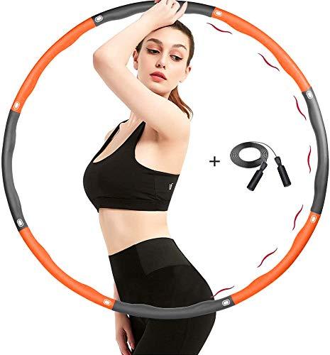 TTMOW Fitness Reifen für Erwachsene mit Springseil Fitness 8 Abschnitte Hoop Schaumstoff,Einstellbar Size Reifen zur Gewichtsreduktion von 1,65 bis 2,2 lb für Erwachsene und Kinder