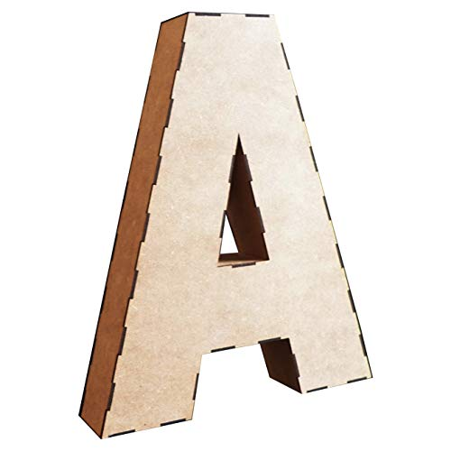 Wood Addicts Letras 3D de Madera de 58 cms. Kit a Montar. Abecedario Completo, para decoración Interior, Fiestas, Bodas, Aniversarios, bautizos, comuniones, etc. (D)