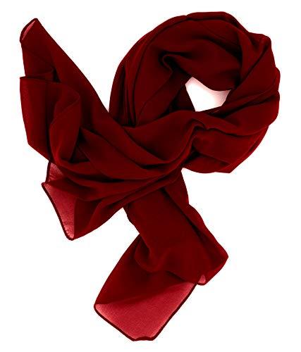 DOLCE ABBRACCIO by RiemTEX ® Schal Damen SWEET LOVE Stola Chiffon Tuch in 30 Unifarben Schals und Tücher in tiefem Rot Halstücher XXL Chiffontücher Halstuch für jede Jahreszeit (Weinrot)