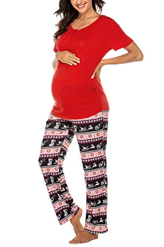 MAXMODA Damen Stillschlafanzug Kurze Ärmel Stilltops mit Stillfunktion Knöpfe Stillpyjama Hose mit floralem Muster