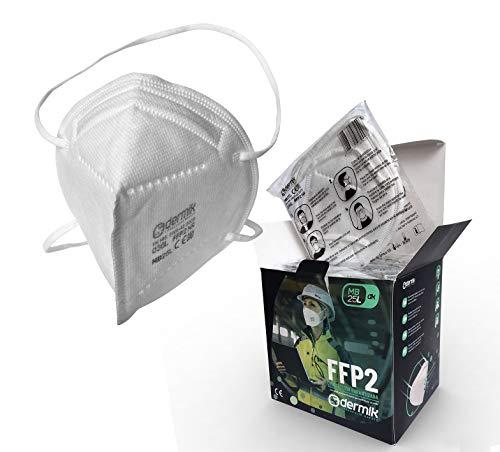 Mascarilla FFP2 Homologada. Caja 25 Mascarillas FFP2 Certificado CE EN149. Ajuste a Cabeza Sin Molestias en las Orejas. Máscara FFP2 Protección Respiratoria Alta Filtración Dermik