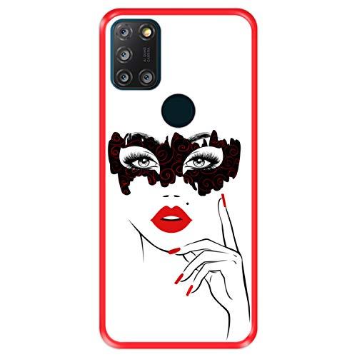 Hapdey Funda Roja para [ Alcatel 3X 4CAM 2020 ] diseño [ Fiesta de Disfraces, Rostro Mujer con Labios Rojos ] Carcasa Silicona Flexible TPU