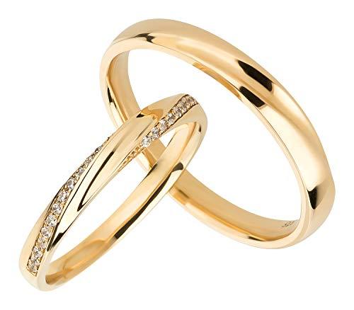 Ardeo Aurum Trauringe Damenring und Herrenring aus 375 Gold Gelbgold mit Zirkonia Eheringe Paarpreis