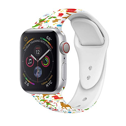 Christmas Theme Silicone Band Compatible for Apple Watch Band 38mm 42mm 40mm 44mm, Thin Soft Narrow Replacement Strap Wristband for iWatch Series SE/6/5/4/3/2/1 Women & Men 42mm/44mm