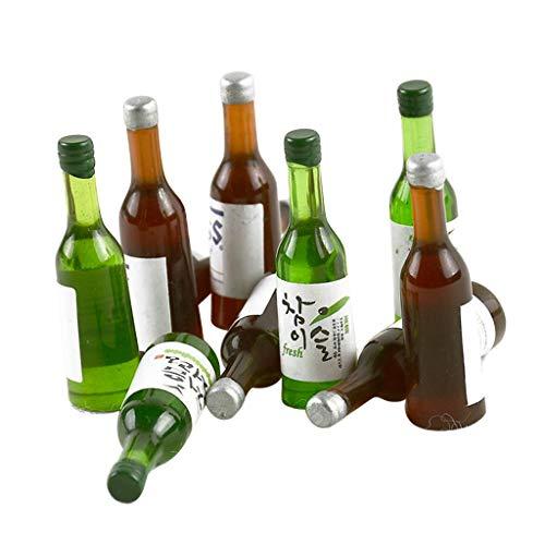sharprepublic 10 Stücke Glas-Flaschen Mini Miniatur Fläschchen Kleines Bier-Fläschchen Puppenhaus Zubehör