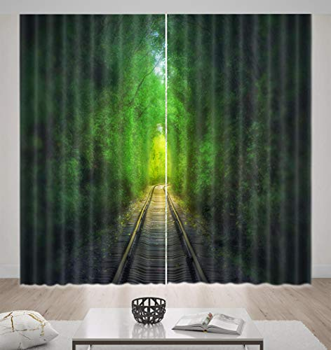 Nonebranded Blackout Curtains For Bedroom/Living Room - Railway Green Plantsh166 X W150 Cm