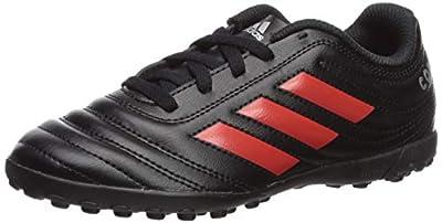 adidas Unisex-Kid's Copa 19.4 Turf Soccer Shoe, Black/hi-res red/Silver Metallic, 12.5K M US Little Kid