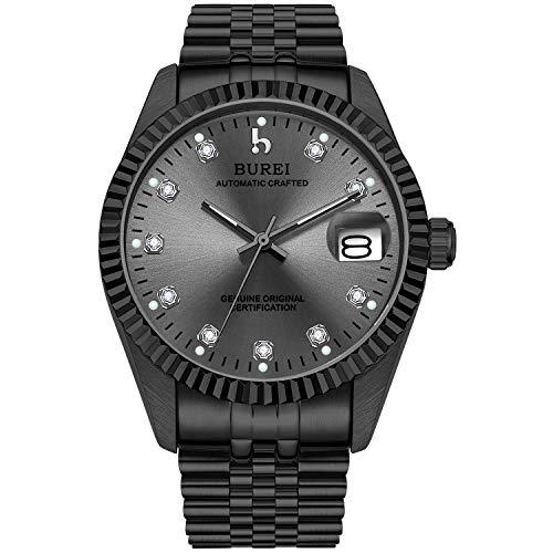 BUREI Heren automatisch horloge Elegant mechanisch herenhorloge met juwelen van saffierglas en datumkalender van leer/roestvrij staal