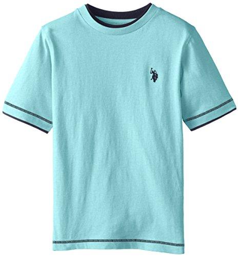 U.S. Polo Assn. Big Boys Double Crew Look T-shirt, Capri Heather, 10/12