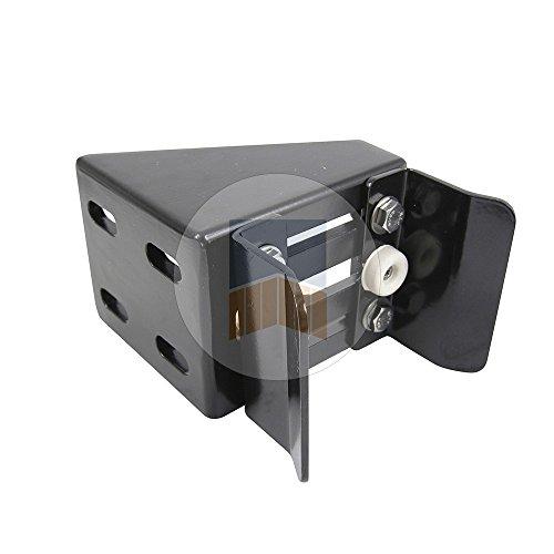 Boîtier en Aluminium quatre points de fixation avec U pour serrure de portail coulissant à encastrer, en applique - Brut
