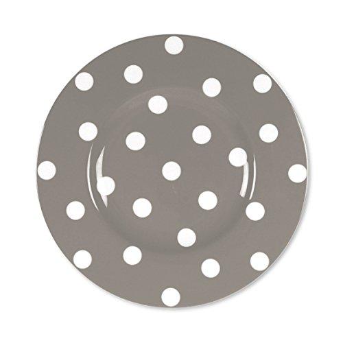 Bruno Evrard Assiette Dessert à Pois Taupe en Porcelaine 22cm - Lot de 6 - Freshness Dots