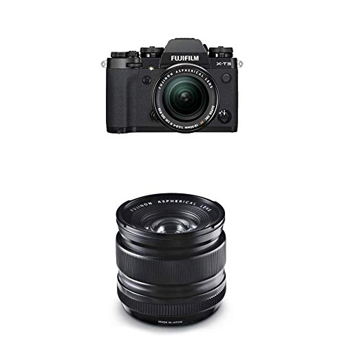 Fujifilm X-T3 - Cámara de objetivo intercambiable sin espejo, con sensor APS-C de 26,1 Mpx, video 4K/60p DCI, pantalla táctil, WIFI, Bluetooth, negro, Kit con objetivo X-T3 + XF18-55mm + XF14mm