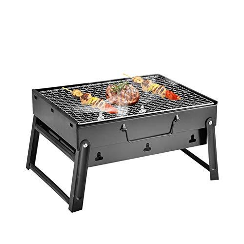 POHOVE Parrilla de barbacoa portátil plegable de carbón de leña para barbacoa ligera Herramientas de parrilla de carbón pequeña parrilla de mesa para cocinar al aire libre camping senderismo picnics