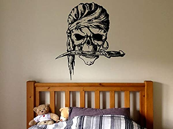 CECILIAPATER Wall Decal Sticker Bedroom Pirate Ship Flag Scull Dagger Cartoon Kids Girls Boys Teenager Room 745b