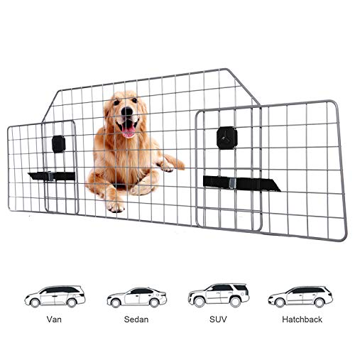 Adakiit Dog Barrier for SUV Car & Vehicles, Adjustable Pet Barrier Car Gate Universal Fit Wire Mesh Dog Car Guard - Car Divider for Dogs Pets SUVs