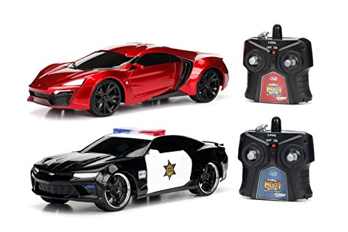 Jada Toys 2016 Chevy Camaro SS and Lykan Hypersport Hyperchargers Heat Chase RC/Radio Control Vehicle-Twin Pack with USB Charging (2 Piece), 1: 16 Scale