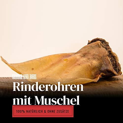George & Bobs Rinderohren mit Muschel - 1000g - Ohren mit schöner Muschel - Langer Kauspaß - Hochwertige Qualität