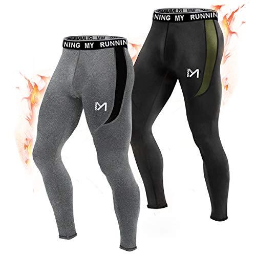 MEETYOO Kompressionshose Herren, Sport Leggings Atmungsaktiv Fitness Strumpfhosen Funktionswäsche Pants Unterhose Lang für Laufen Wandern Radfahren (Schwarz + Grün-Vlies, L)