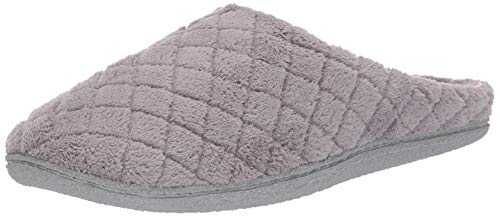 Dearfoams Women's Quilted Terry Clog Mule Slipper – Padded Terrycloth Slip-Ons with Skid-Resistant Rubber Outsole