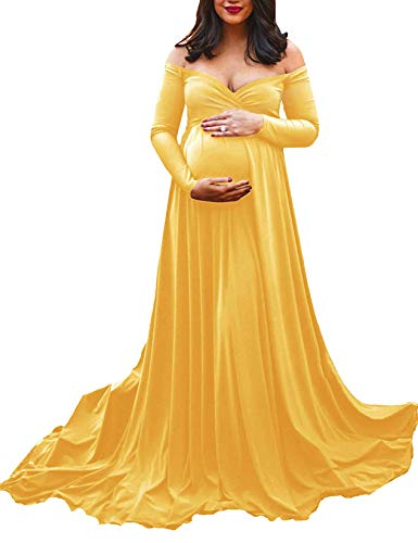 Saslax Maternity Off Shoulders Long Sleeve Half Circle Gown for Baby Shower Photo Props Dress Yellow Small