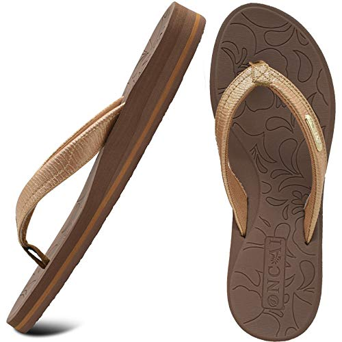 ONCAI Tongs Femme Tapis De Yoga Antidérapante Sandales Femme Summer Flip Flop Avec Support d'Arche Poids Léger Eva Semelle Marron Taille 40