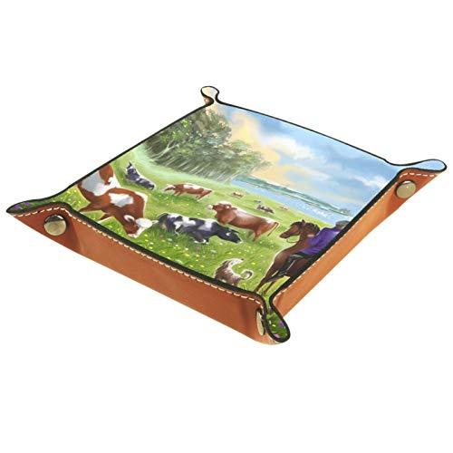 TIKISMILE Bandeja de almacenamiento de piel con diseño de manada de vacas solar de prado pastor, organizador de cosméticos, bandeja para el hogar, oficina y escritorio, placa cuadrada