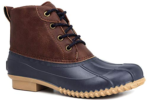 LONDON FOG Womens Winley Duck Boot navy/cognac 8