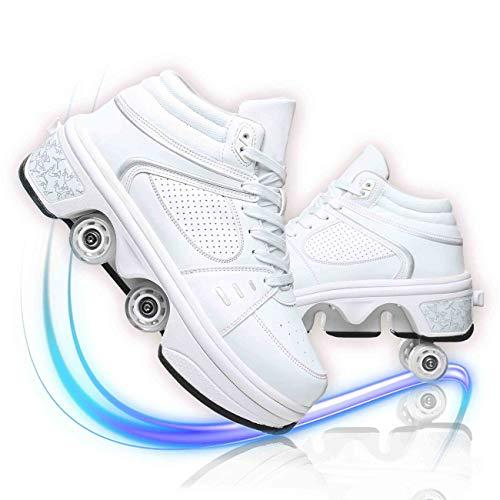 JZIYH Zapatos con Ruedas para Adultos Niños Patines En Línea Zapatos De Rodillo Ajustables Zapatillas De Skate 2 En 1 Multifunción Patines 4 Ruedas