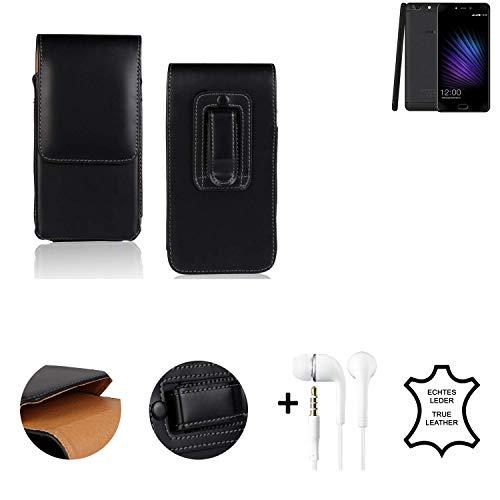 K-S-Trade® Leder Gürtel Tasche + Kopfhörer Für Leagoo T5 Seitentasche Belt Pouch Handy-Hülle Gürteltasche Schutz-Hülle Etui Schwarz 1x