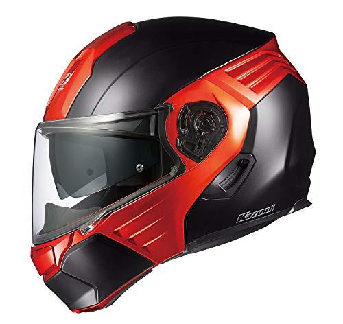 オージーケーカブト(OGK KABUTO) バイクヘルメット システム KAZAMI フラットブラック/オレンジ L (頭囲 59cm~60cm)