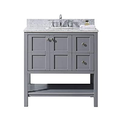 Virtu USA Single Bathroom Vanity with Marble Top and Round Sink