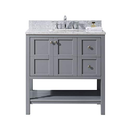 Virtu USA ES-30036-WMRO-GR-NM Winterfell 36' Single Bathroom Vanity in Grey with Marble Top and Round Sink, 36 inches, Cool Gray