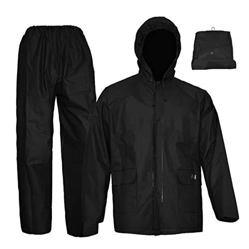 Rain Coat for Women Men Waterproof Jacket with Pants 2Pcs Ultra-Lite Suits EVA Reusable Portable Packable (Medium, Black)