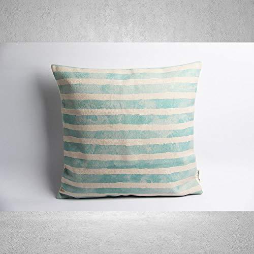 Lplpol - Funda de almohada de lona, diseño de rayas, diseño geométrico, decoración de fundas de almohada personalizadas, 45 x 45 cm, para sala de estar, sofá y cama