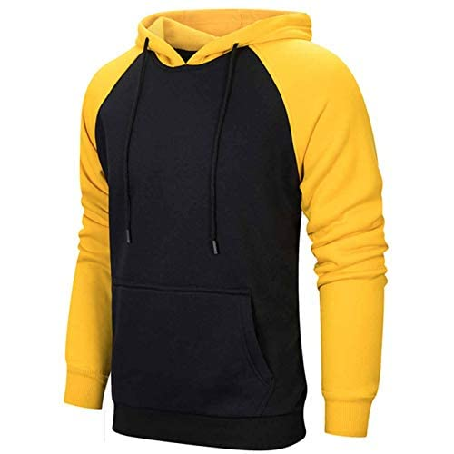 41lxNnSCHSL. SS500  - Mens Hoodie Pullover Sweatshirts Patchwork with Kanga Pocket Casual Tops Hoody