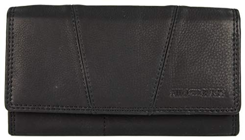 Hill Burry Vintage Leder Damen Geldbörse Portemonnaie Geldbeutel Portmonee aus weichem Leder mit RFID in schwarz - 17,5x10x3cm (B x H x T)