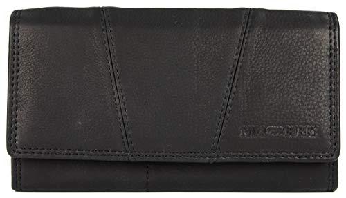 Hill Burry Vintage Leder Damen Geldbörse Portemonnaie Geldbeutel Portmonee aus weichem Leder in schwarz - 17,5x10x3cm (B x H x T)
