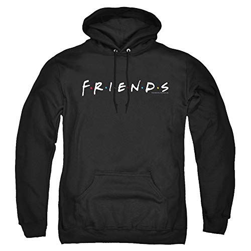 Popfunk Friends TV Logo Black Pullover Hoodie & Stickers (X-Large)