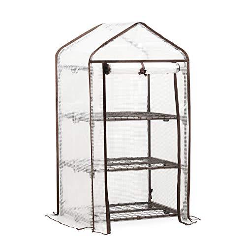 Sekey Invernadero de 3 Niveles para el jardín Hecho de Tubos de Acero galvanizado, Planta Estantería con Puerta para enrollar, 69 x 49 x 125 cm, Color Blanco