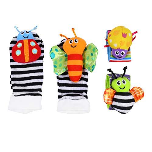 Kisangel 3D Animal Bebé Sonajero Calcetines Muñeca Infantil Sonajero Juguetes Buscadores de Pie Set Baby Shower Presente Accesorios para Fotos