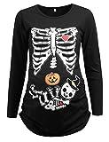 Detigee Women's Halloween Pregnancy T-Shirt Skeleton Costume Maternity Tops (Black,XL)