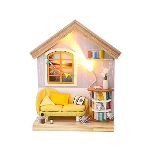 GBSELL 3D Wooden Dollhouse Miniature Kit DIY House Kit with FurnitureCreative Room Best Birthday for Toddler Girls and Kids (B)