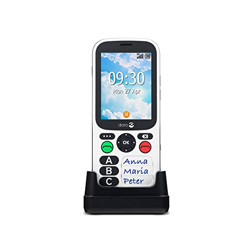 Doro 780X Handy 4G Dual SIM entsperrt für ältere Menschen mit vereinfachter Tastatur, Assistent-Taste, Geolokalisierung und Ladestation inkl. Ladegerät (Schwarz/Weiß) [Französische Version]