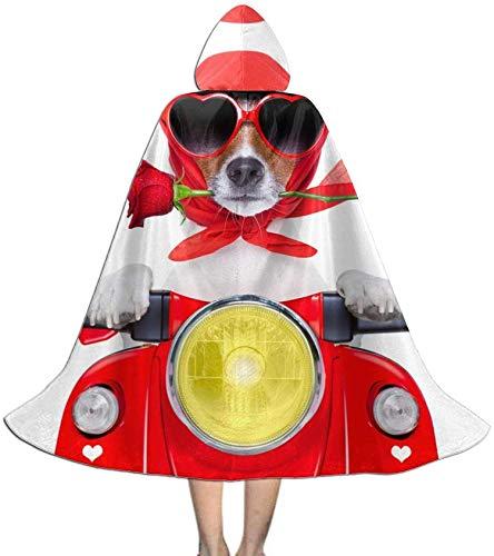 Romance-and-Beauty Capa para nios Capa con Capucha Divertido Pug en Motocicleta con Rosa Capa Unisex Capa para Halloween Fiesta de Navidad Disfraces de Cosplay